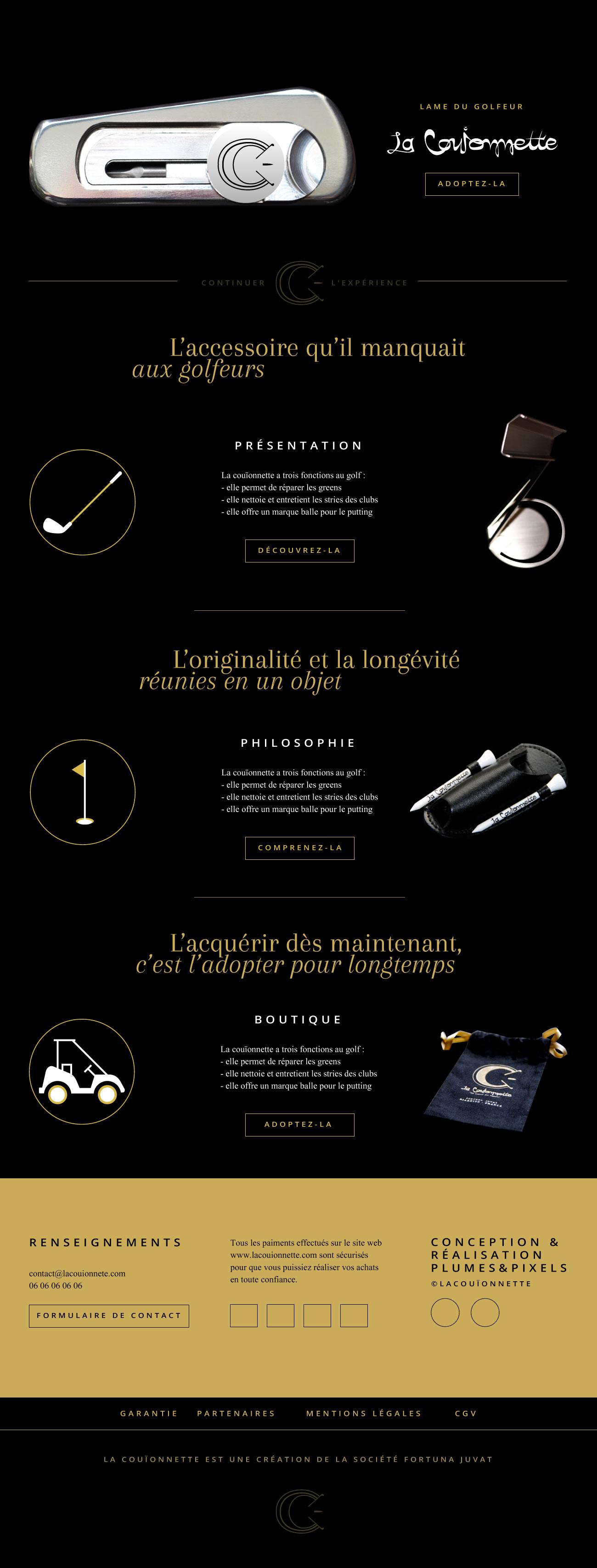 Aïtana Design, Caroline Viollier, graphisme, direction artistique, création graphique, design graphique, branding, Biarritz, Paris, studio de création, luxe, haut de gamme, golf, couteau, webdesign